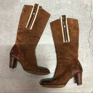 UGG Suede Shearling Heeled Boots 9